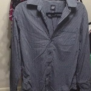 Gap Fitted Long Sleeve Button Up S Black & Blue